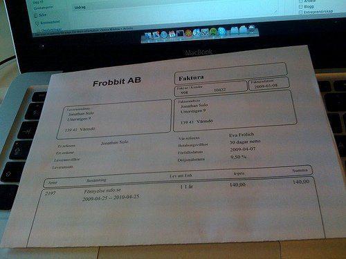Första fakturan från Frobbit