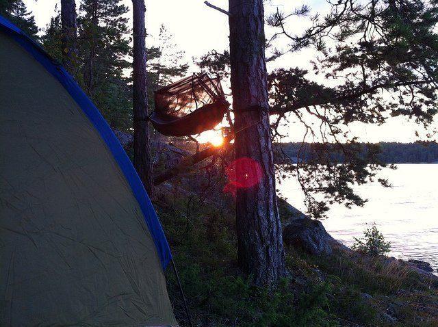 Hängmatta och tält