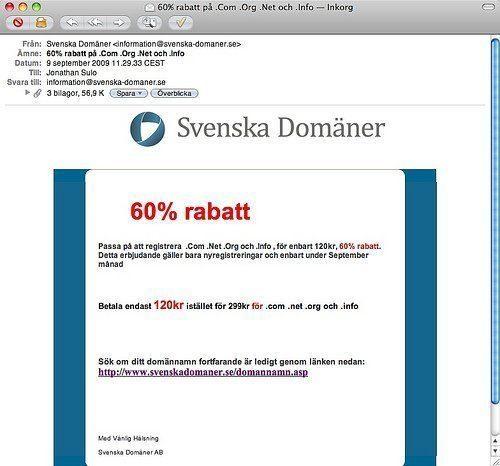 Spam från Svenska Domäner