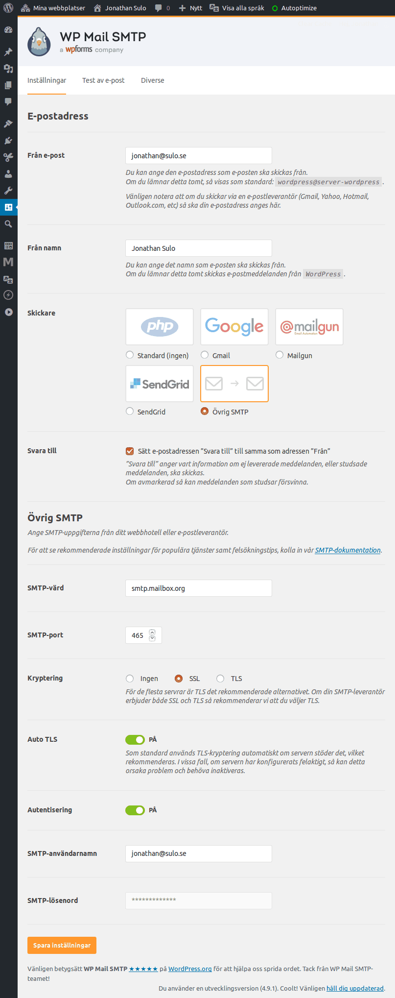 Inställningar för WP Mail SMTP